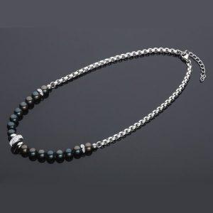 Jeklena verižica z črnimi biseri 611016