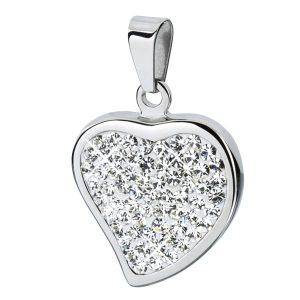 Poliran obesek srce z belimi kamni 616028